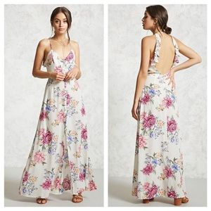 forever 21 • floral open back ruffle maxi dress